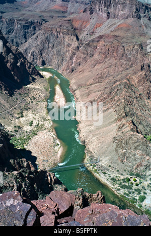 ARIZONA GRAND CANYON View straight down to the Silver suspension bridge over the Colorado River from the South Kaibab - Stock Photo