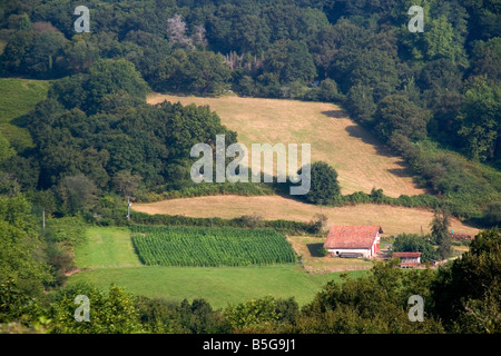 Rural farmland in the Pyrenees Atlantiques department of French Basque Country Southwest France - Stock Photo