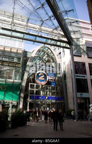 The Europa Passage Shopping Mall in Hamburg's city centre. - Stock Photo