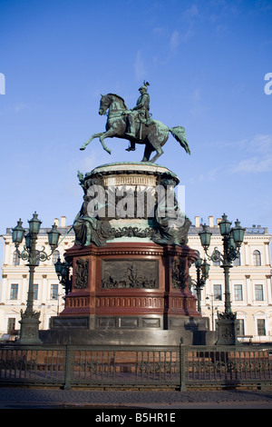 Monument to Nicholas I. The Saint Isaac's Square, St.Petersburg, Russia. - Stock Photo