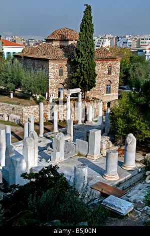 Remains of the Forum built in Athens in the Roman period (east of the classical agora). Athens Greece Greek - Stock Photo