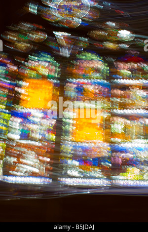 Play of colors in Gothic cathedral in Strasbourg june 2006 - Stock Photo