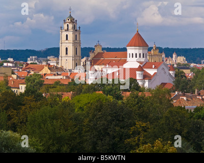 Baltic States, Lithuania, Vilnius, elevated city view Russian Orthodox church the Holy Mother of God - Stock Photo