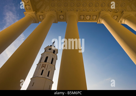 Baltic States, Lithuania, Vilnius, Vilnius Cathedral and the 57m tall Belfry Tower - Stock Photo