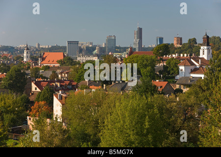 Baltic States, Lithuania, Vilnius, view over the Old Town to the modern city skyline - Stock Photo