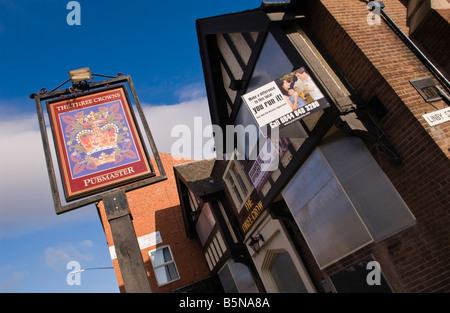 The Three Crowns pub to let closed and steel shuttered in Bulwell Nottinghamshire England UK - Stock Photo