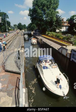 July 1993: Boulters Lock on the River Thames near Maidenhead, Berkshire, England, UK, Europe - Stock Photo