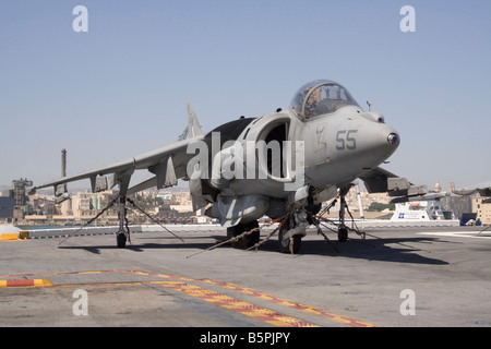 US Marine Corps AV-8B Harrier on board USS Kearsarge - Stock Photo