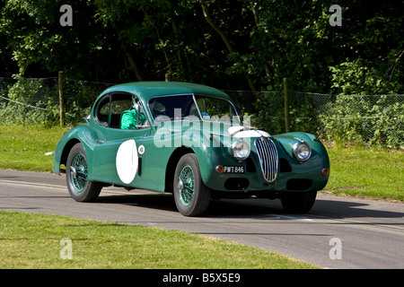 1956 Jaguar XK140 FHC Le Mans entry at Goodwood Festival of Speed, Sussex, UK. - Stock Photo