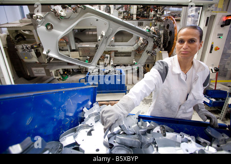 Car works of the Volkswagen AG production of the car body of the Golf VI - Stock Photo