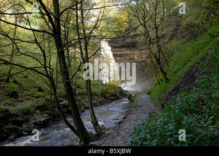Hardraw Force waterfall Wensleydale Yorkshire - Stock Photo