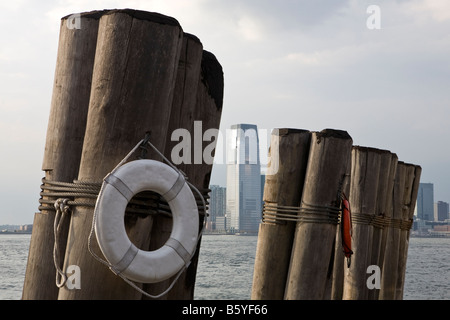 The jetty on Hudson River at Pier A in Battery Park, Manhattan, New York City USA - Stock Photo