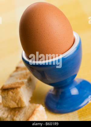 Soft Boiled Egg in a Egg Cup with Toasted Soldiers - Stock Photo