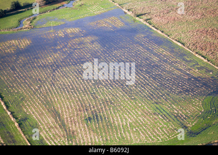 Aerial view. Blue sky reflected in a flooded field.  Farm on the borders of Hampshire and Dorset, UK. - Stock Photo