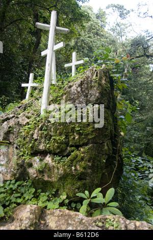 Christian crosses on the Camino de los Espanoles, Old Spanish trade route over the Sierra de San Luis, Venezuela, - Stock Photo