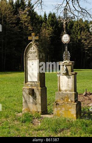 Memorial crosses near Nabin in the Lallinger Winkel, Bavarian Forest, Lower Bavaria - Stock Photo