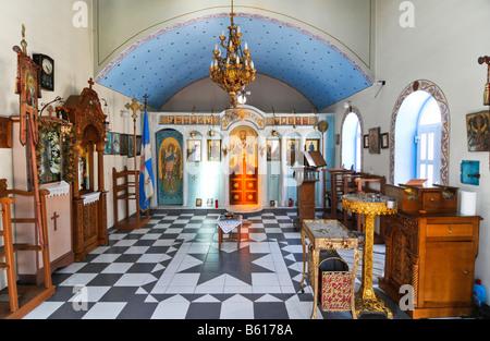 Interior of a Greek Church in Firopotamos on the Milos Island, Cyclades Island Group, Greece, Europe - Stock Photo