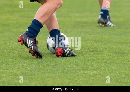 Feet, soccer ball, FC Bayern Munich, training session - Stock Photo