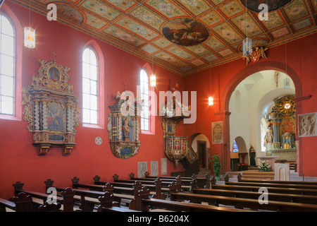 Interior view of the provost church of St Peter in Petersburg near Fulda, Rhoen, Hesse, Germany, Europe - Stock Photo