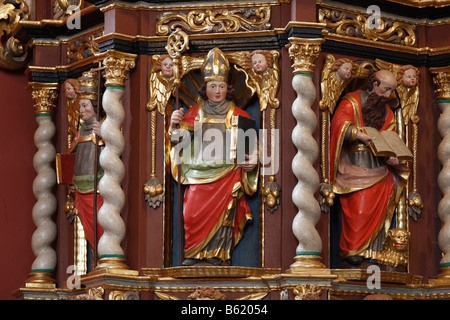 Pulpit in the provost church of St Peter in Petersburg near Fulda, Rhoen, Hesse, Germany, Europe - Stock Photo