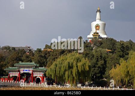 Jade Flowery Islet Beihai Park oldest Imperial garden in China Beijing - Stock Photo