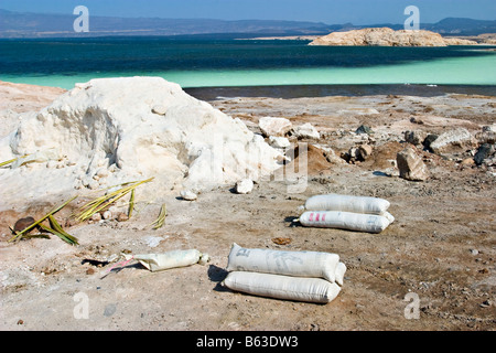 Salt collection at Lac Assal (Assal Lake), Djibouti, Africa - Stock Photo
