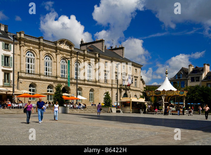The town centre in Quimper Brittany France showing the town hall and Musee des Beaux-Arts - Stock Photo