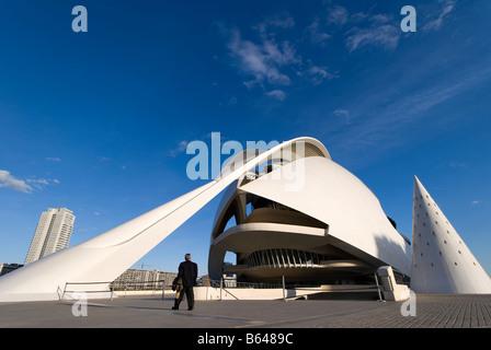 Entrance to the Valencia Opera House El Palau de les Arts Reina Sofía Valencia Spain - Stock Photo