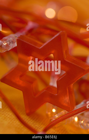 Red Star of David holiday decoration, close-up - Stock Photo