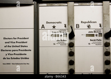 View inside a voting booth used in the 2008 US general election in New York NY United States 4 November 2008 - Stock Photo