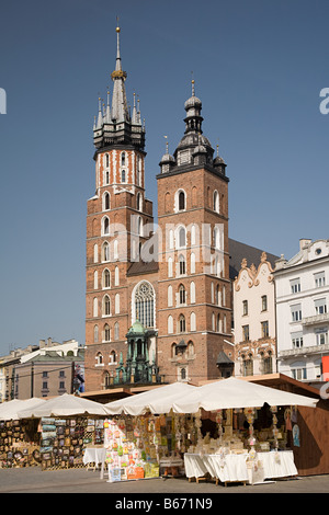 St marys church and market square cracow - Stock Photo