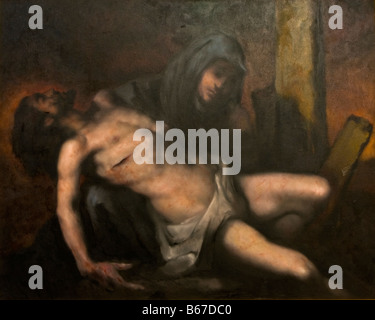 XIII. Station of the way of the Cross. Jesus body is removed from the cross-Pieta. Painted by Goran Tvrtkovic. - Stock Photo