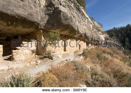 Cliff Dwelling Walnut Canyon National Monument Arizona - Stock Photo