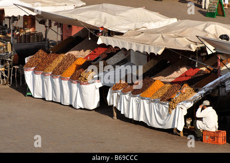 Market stall at Djemaa el Fna place in Marrakech, Morocco - Stock Photo
