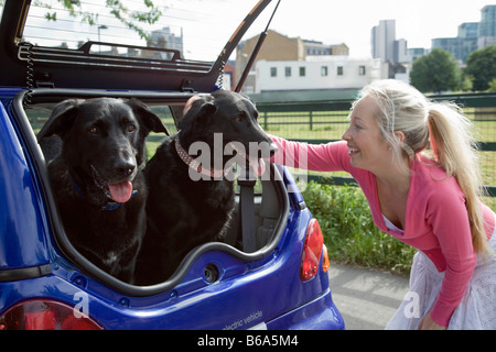 Young woman patting dogs in electric car - Stock Photo
