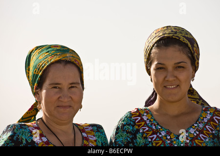 female pilgrims to the shrine of Jamal al-Din, Anau, Turkmenistan - Stock Photo