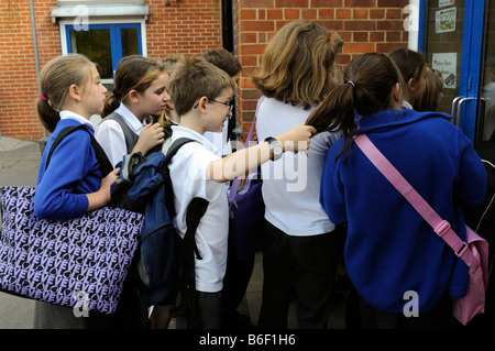 Boy bully pulling girls hair who is standing inline to enter primary school - Stock Photo