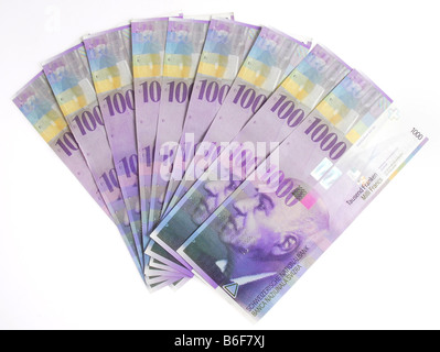 Thousand Franc notes, Swiss banknotes - Stock Photo