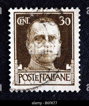 Victor Emmanuel III, King of Italy (1900-1946), postage stamp, Italy - Stock Photo