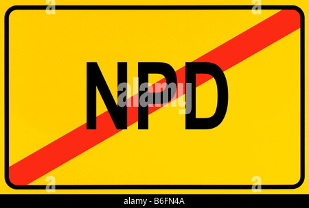 End of town sign, symbolic image for the end of the NPD - Stock Photo