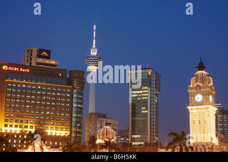 View Of KL Tower From Merdeka Square At Dusk, Kuala Lumpur - Stock Photo