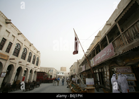 Street scene with traditional buildings at the Souq Waqif market, Doha, Qatar, Middle East - Stock Photo