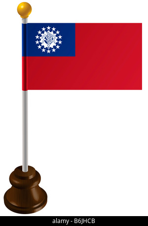 Myanmar flag as a marker - Stock Photo