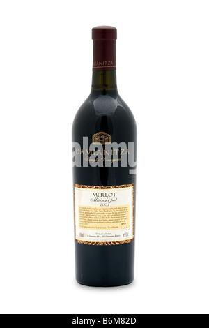 Bulgaria damianitza single vineyard red wine merlot mitinski pat 2002 aged 10 months 1 year French oak barrels violet - Stock Photo