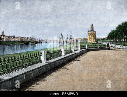Golden Tower of Seville, Spain, landing-place of treasure from the New World, a view in the 1800s. Hand-colored - Stock Photo