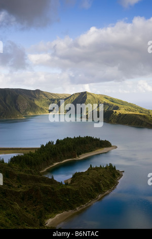 Aerial view of Fire Lake or Lagoa Do Fogo on the Portuguese Island of Sao Miguel in the Azores. - Stock Photo