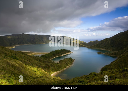 Wide angled Aerial view of Fire Lake or Lagoa Do Fogo on the Portuguese Island of Sao Miguel in the Azores. - Stock Photo