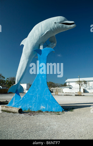 concrete dolphin, Grassy Key Florida - Stock Photo