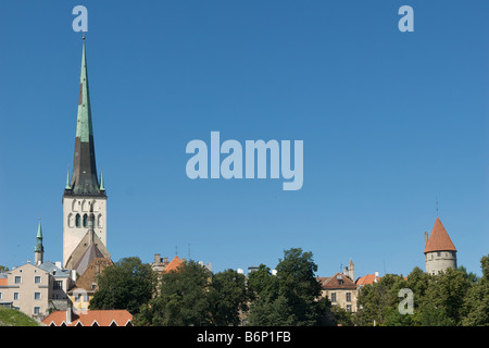Panoramic view Lower Tallinn with Olaf s Church Estonia - Stock Photo