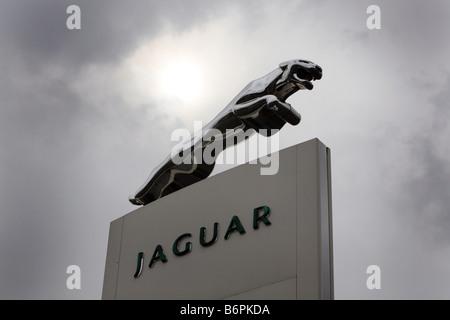 Jaguar car dealers showroom sign - Stock Photo